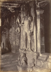 Sculptured figures in north corner of interior of Brahmanical Cave Temple, Aihole, Bijapur District